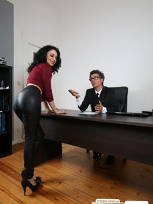 German secretary with black hair removes leather pants while fucking the boss