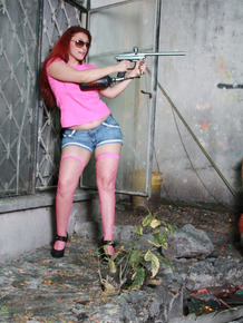 Redhead Evelyn Contreras gets naughty during her paintball adventure