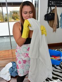Naughty housemaid Angela Rodriguez sucks dick and gets screwed hard