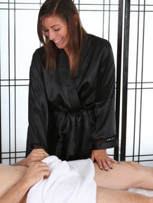 Brunette masseuse Rilynn Rae is agreeable to a 69 during a body massage
