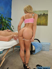 18 year old masseuse Amy goes for a ride on her client's hard shaft