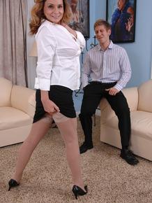 Busty mature MILF Rebecca Bardoux lets her step son undress her
