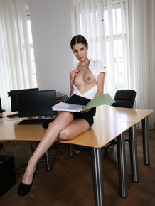 Thin and hot German secretary getting naughty on the office desk
