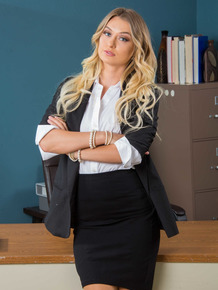 Sexy secretary Natalia Starr strips to pink nylons and garters at work