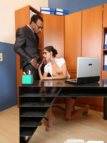 Skinny German young woman Coco Kiss indulges big black cock in office