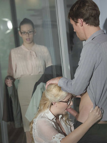 Hot blonde secretary Samantha Rone sucking and fucking cock in office