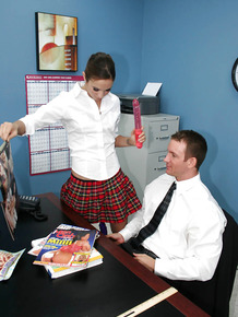 Good-looking teen Amber Rayne banging with her handsome boss