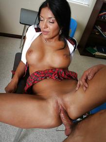 Sweet brunette latina schoolgirl riding on that meat stick