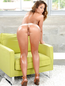 Young babe with plump naturals Layla London shows of her oiled ass