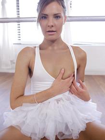 Skinny ballerina Shyla Ryder doffs her tutu to ride her partner's hard cock