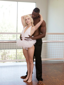 Sweet petite ballerina Elsa Jean opens wide for huge black cock in the studio