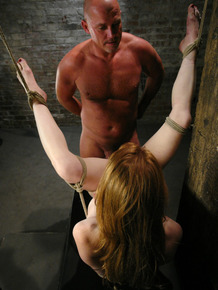 Imperious master impales tied up submissive redhead Madison Young