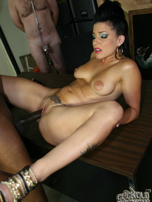 Crazy brunette Tori Lux makes her husband watch while a black dick bangs her