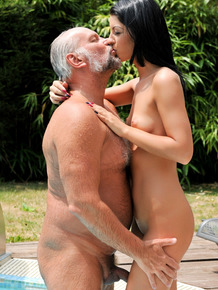 Young brunette Vivien Bell takes an external cumshot from her old sugar daddy