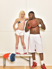 Young looking blonde cheerleader Piper Perri gets naked next to a BB player