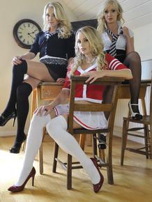 Three attractive blonde schoolgirls strip down to their hot lingerie