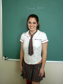 A cute schoolgirl Tommie Ryden is ready for hot sex at the classroom