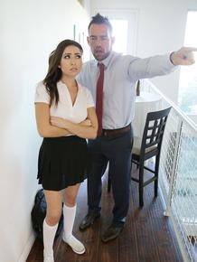 Schoolgirl Melissa Moore gets a hard cock bang & facial cumshot for bad grades