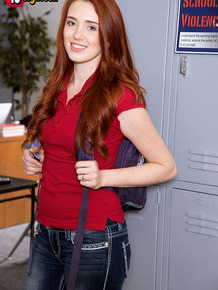 Young redhead seduces the teacher she's got the hots for in his classroom