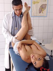 European schoolgirl Carolina Abril taking penetration from kinky doctor