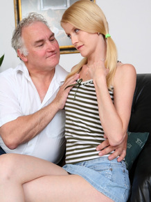 Young blonde girl fucks a really old man as a favor to indebted boyfriend