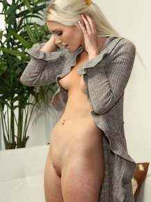Skinny German blonde with tiny tits Franziska Facella shows off her hot body