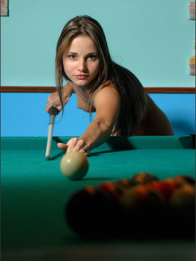 Smoking hot amateur babe loves playing pool butt naked late night