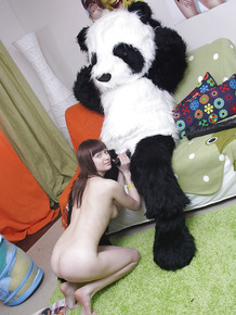 Salacious teen with sexy ass has some hardcore fun with her panda toy