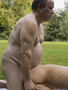 Young Hungarian brunette Meg Magic tempts old man into fucking in green park