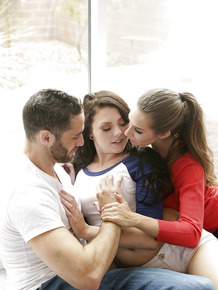 Hot female teacher and her bf have a threesome with teen girl