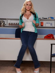 Blonde pornstar Alena Croft with huge tits and ass is a lesbian doctor