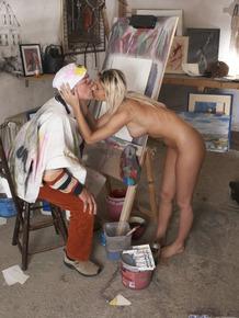 Lucky artist fucks much younger blonde model Vanessa Jordin after blowjob