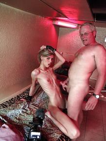 Very skinny Euro girl facesitting older man & getting cum on tiny tits