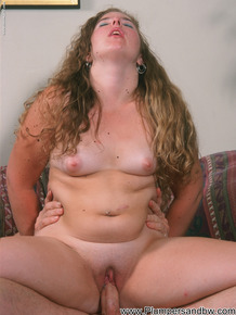 Chubby girl with tiny tits sucks off her man after riding his dick