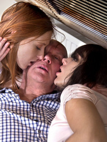 Two young girls seduce an fuck an old man for the thrill of it
