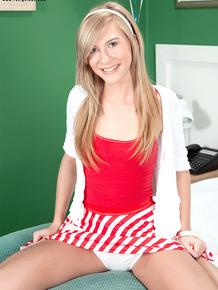 Petite blonde nursing assistant Chloe Brooke fucks a patient on 18th birthday
