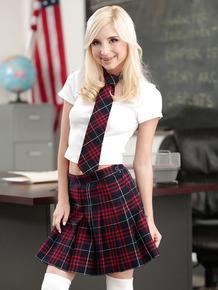 Platinum blonde schoolgirl Piper Perri exposing shaved teen pornstar pussy