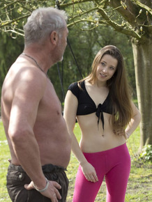 Flexible young girl performs fellatio on an old man after doing yoga