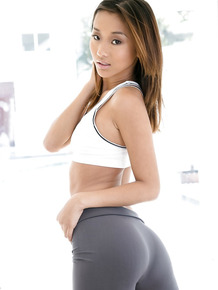 Tanned Asian Alina Li shows off her outstanding big juicy booty