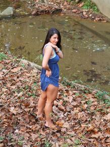Busty dark haired hottie Christine flashing hot panty upskirt outdoors