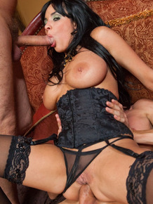 Hot busty Anissa Kate in sheer panties getting her horny holes banged in 3some