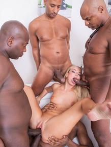 Blonde slut Victoria Pure gets on knees for blowbang after being gangbanged