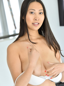 Asian first timer with beautiful boobs pleasures her pussy with a sex toy
