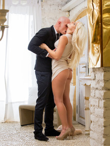 Blonde escort Blanche gives her date a blowjob and rides anal after dinner
