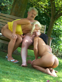 Young girls get it on with seriously obese old man in the backyard
