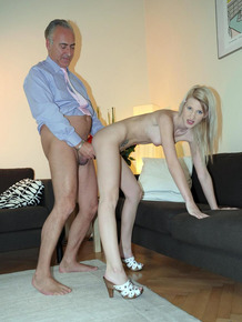 Leggy young girl works on her daddy issues with a dirty old man