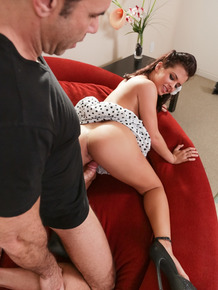 Hot girl Keisha Grey seduces her guy in polka dot dress and ankle strap heels