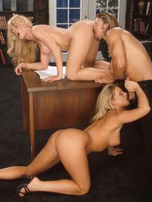 Busty blonde Maya Devine sucking cock & fucking in FFM office threesome