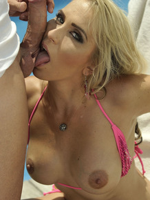 Busty blonde chick Julia Pink gets banged on a poolside patio