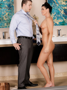 Brunette masseuse India Summer fucks a client during a full body rub